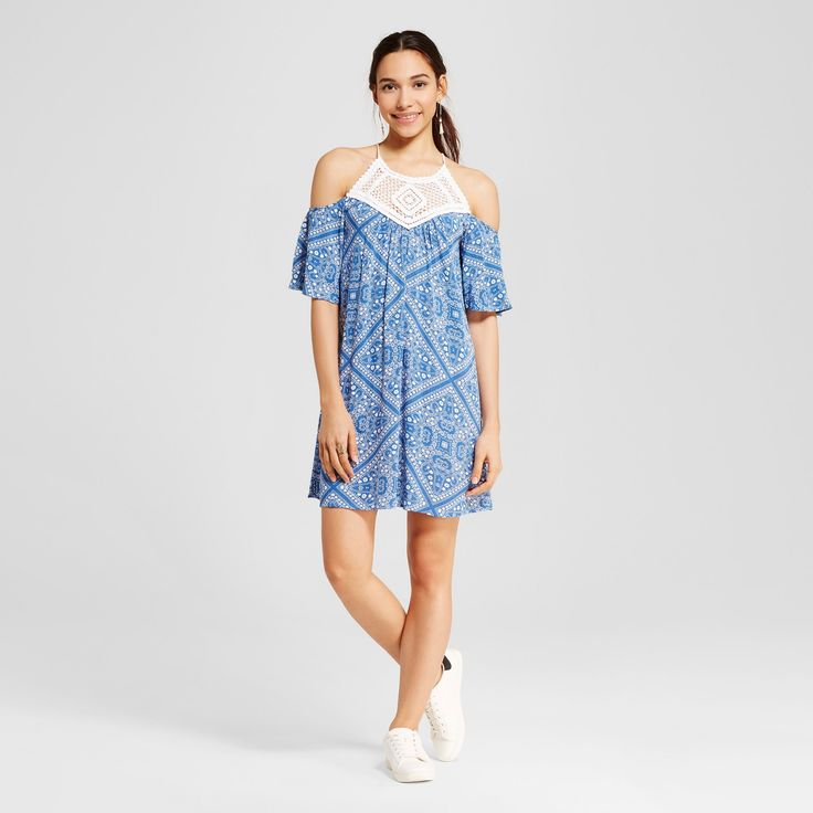 Women's Bandana Print Crochet Cold Shoulder Dress - Lots Of Love By Speechless (Juniors') Denim M, Blue White