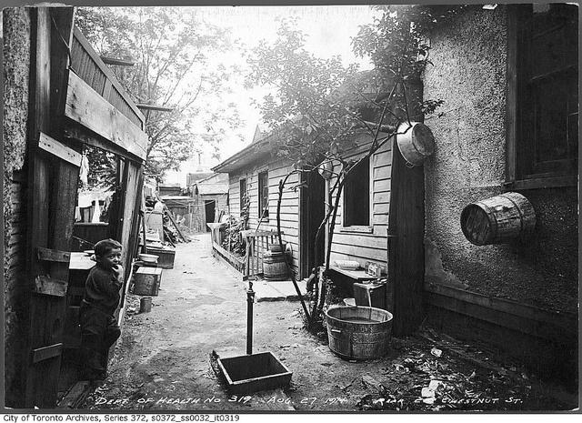 Rear view of 210 Chestnut Street, Toronto, August 27, 1914. #Edwardian #vintage #Canada