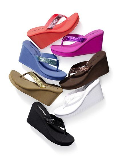 colin stuart wedge sandals | Come in different cute colors. Which one would you get?