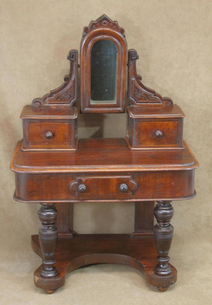 19thC Antique Miniature Victorian Bisque Dolls Mahogany Dressing Table & Mirror