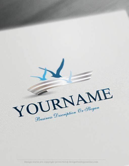 Create a Logo Free -Seagulls fly Logo Templates ReadymadeOnline logo templates Decorated with an imageof Seagulls fly over the sea. This professional flying bird logos greatfor brandingbusiness Consulting, Travel,Eco & Nature,Beach, surf club etc.  How to createyour own Seagulls logo online with the best free logo maker? 1- Easily customize this brand yourself with our freelogo maker.Make your