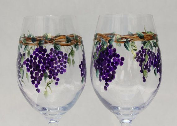 Hand Painted Wine Glass Grapes Pair Wine Glasses Painted Wine