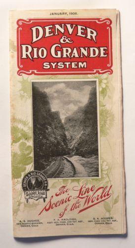 Denver Rio Grande System Railroad Public Timetable Junuary 1906 Map