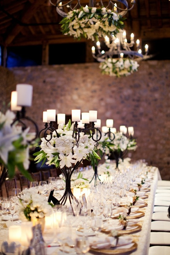 Candelabra Wedding Centerpiece: White Flowers, Ideas, Diy Wedding Centerpieces, Weddings, Candles, Wedding Tables Decor, Wrought Irons, Center Pieces, Candelabra Centerpieces