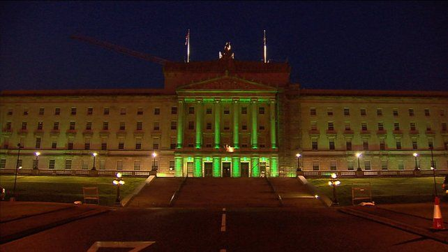 For the first time, Stormont was lit up green
