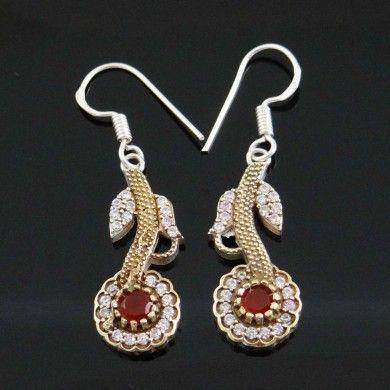 Designer Silver Jewellry Ruby Stone Earring Women Wedding Ethnic Indian Jewelry