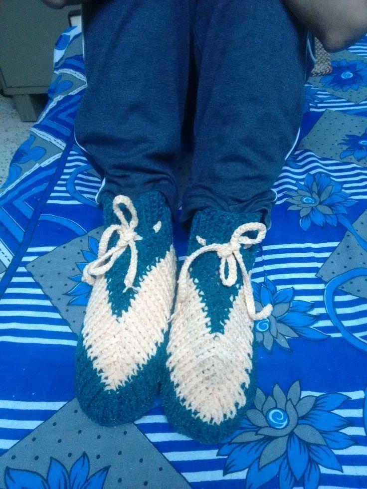 Night woolen shoes