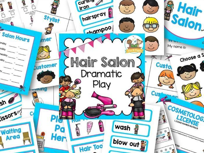 Hair Salon Dramatic Play Kit for Preschool. Printable props to help you easily and quickly transform your dramatic play center into a Hair Salon for meaningful play experiences!