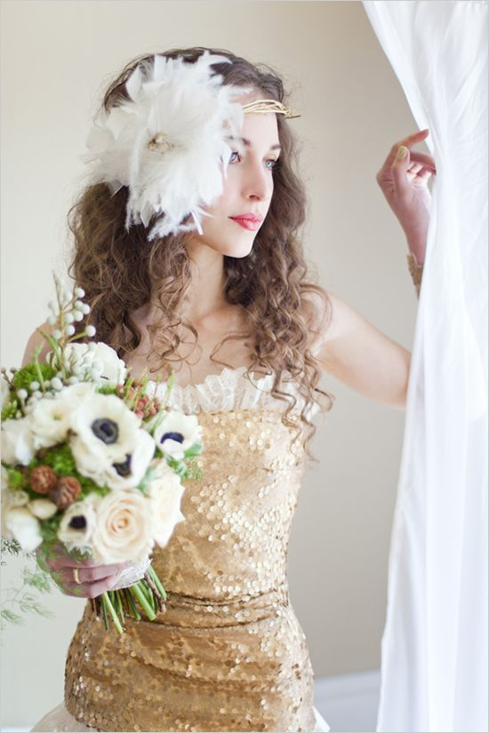 Gold Wedding Dress photographed by Brumley & Wells PhotographyWedding Dressses, Hair Piece, Well Photography, Gold Dresses, Photography Wedding, Bridesmaid Dresses, Wedding Gowns, Dresses Photographers, Gold Wedding Dresses