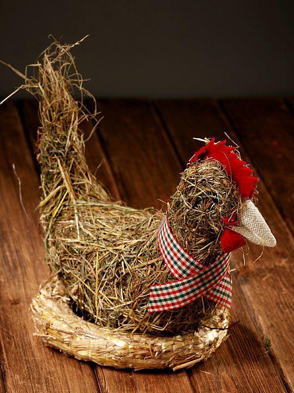 Ozdobna Kura Hannah Collection Z Pachnacego Ekologicznego Sianka Rekodzielo Ok 25 Cm Decorative Wicker Basket Easter Wicker