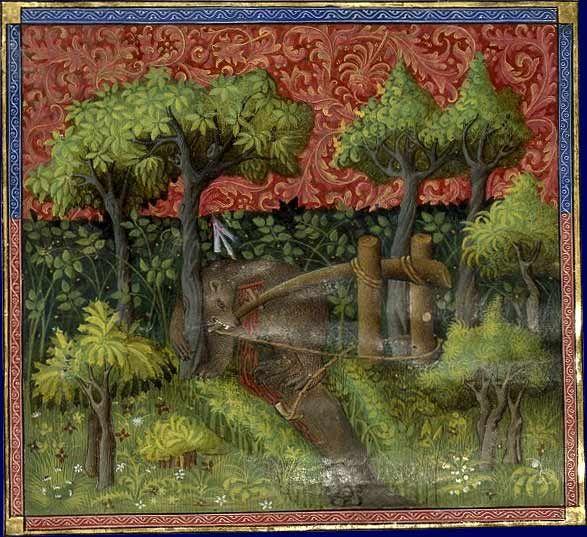 Chasse à l'ours, Gaston Phébus, Livre de chasse, France, début du XVe siècle  Paris, BNF, département des Manuscrits, Français 616, fol. 106v.