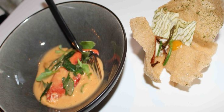 Kritharaki pasta | kreeft | basilicum | ziltige plantjes | yuzu | kroepoek, Soenil Bahadoer, restaurant De Lindehof, Nuenen.