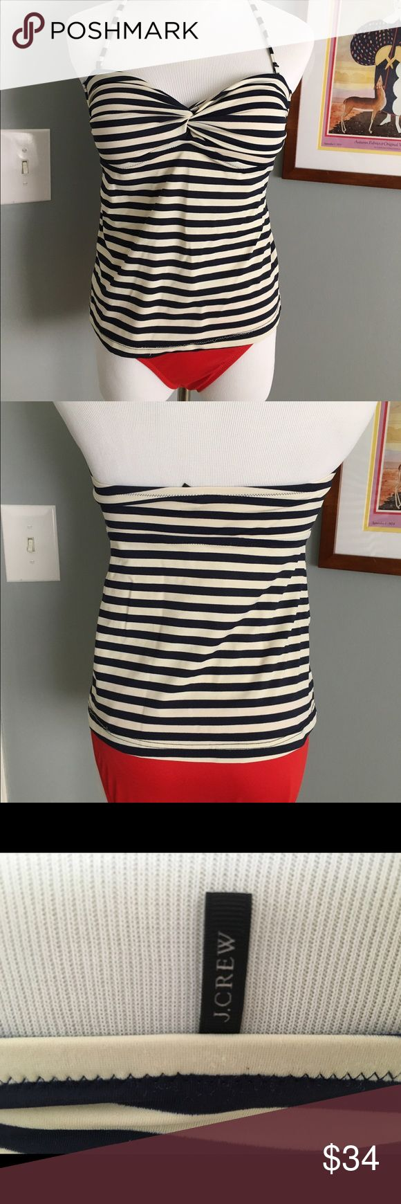J.Crew nautical tankini size small Satrap less navy cream too with cups and removable strap.  Loose thread at bottom hem ...gently worn see photo...red bikini bottoms only worn once... J. Crew Swim Bikinis