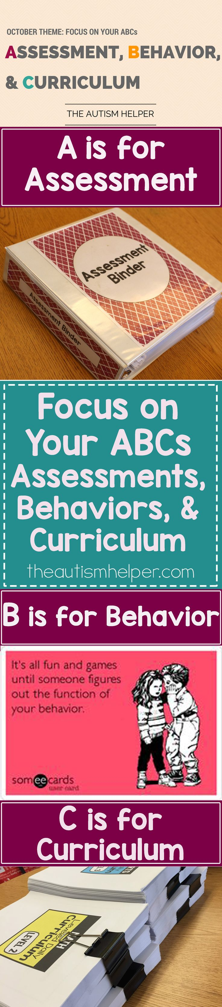We're focusing on the ABC's of October by Assessing students' level of learning, implementing Behavior interventions, & beginning to set up Curriculum. We know this isn't easy, but it's time to go after the meat and potatoes of our school year!! From theautismhelper.com #theautismhelper