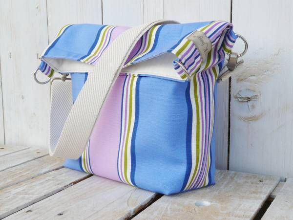 Tote Bag Canvas Striped cross body messenger nautical beach bag, unique gift for women, trending gift ideas, eco friendly bag