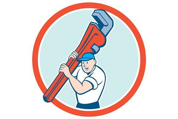 Plumber Carrying Monkey Wrench Circl Monkey Wrench Cartoon Styles Tool Design