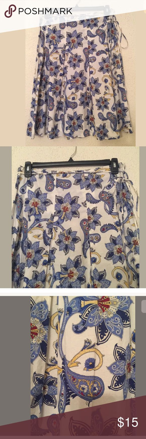 Tommy Hilfiger Skirt Pleated Blue Paisley Size 8 Tommy Hilfiger Womens Skirt Pleated Blue Paisley Size 8 100% Cotton . Excellent skirt beautiful print and color combination. Tommy Hilfiger Skirts A-Line or Full