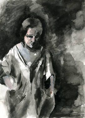 Study of a woman after Rembrandt's painting