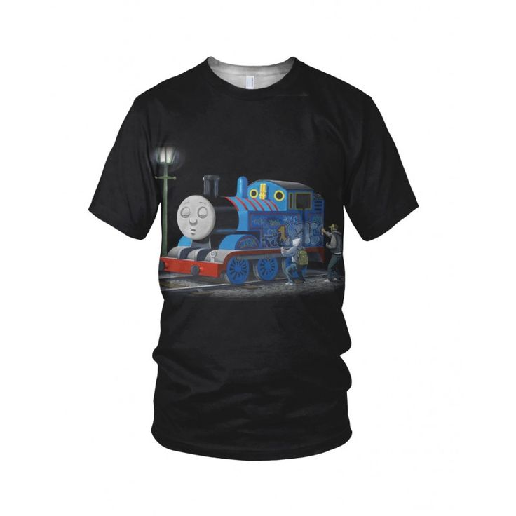 """Thomas The Tank Engine, from the collection of """"Hand Printed"""" Designs by the prolific street artist known as """"Banksy"""".   More Designs and Styles on the Store: http://www.globalmusicollective.com/store/?product_cat=banksy"""