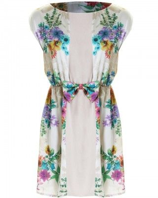 LOVE Bella Print Chiffon Front Panel Bow Waist Dress - In Love With Fashion