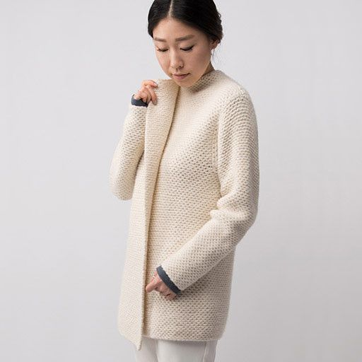 pretty knitted coat! love the honeycomb stitch