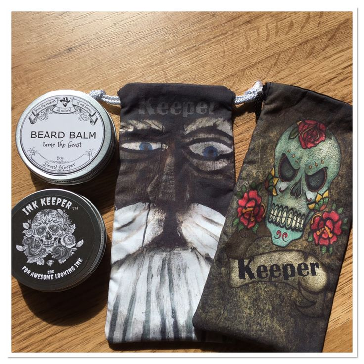 Keeper Pack. all natural Tattoo Balm, Beard Balm in a custom designed drawstring bag. Perfect for sunnies or phone.
