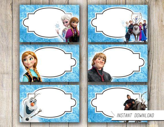 Frozen Food Tent Label-Frozen Printable Food Tent-Frozen Birthday Printable Party Treat Candy Label Olaf Elsa Anna Frozen Birthday Supplies
