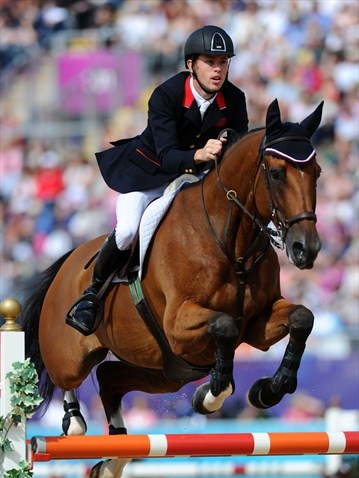 Scott Brash of Great Britain riding Hello Sanctos competes in the 3rd Qualifier of Individual Jumping on Day 10 of the London 2012 Olympic Games at Greenwich Park.