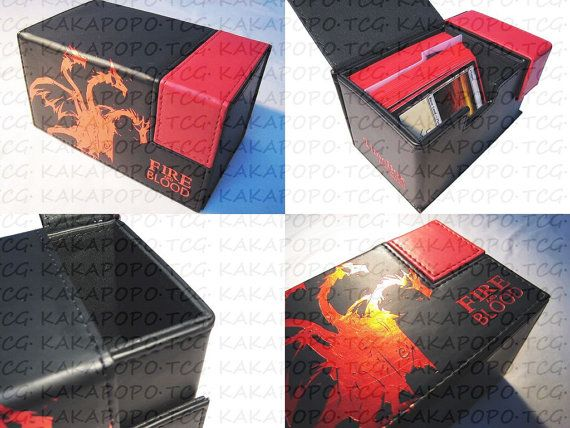 BLACK Artificial Leather Deck Box for Trading Cards Mtg Magic Yugioh Wow Pokemon Vanguard Card & Board Games Match Attax TCG Game of Thrones on Etsy, $29.24