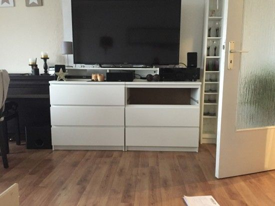 Two IKEA Malm chests as a TV highboard