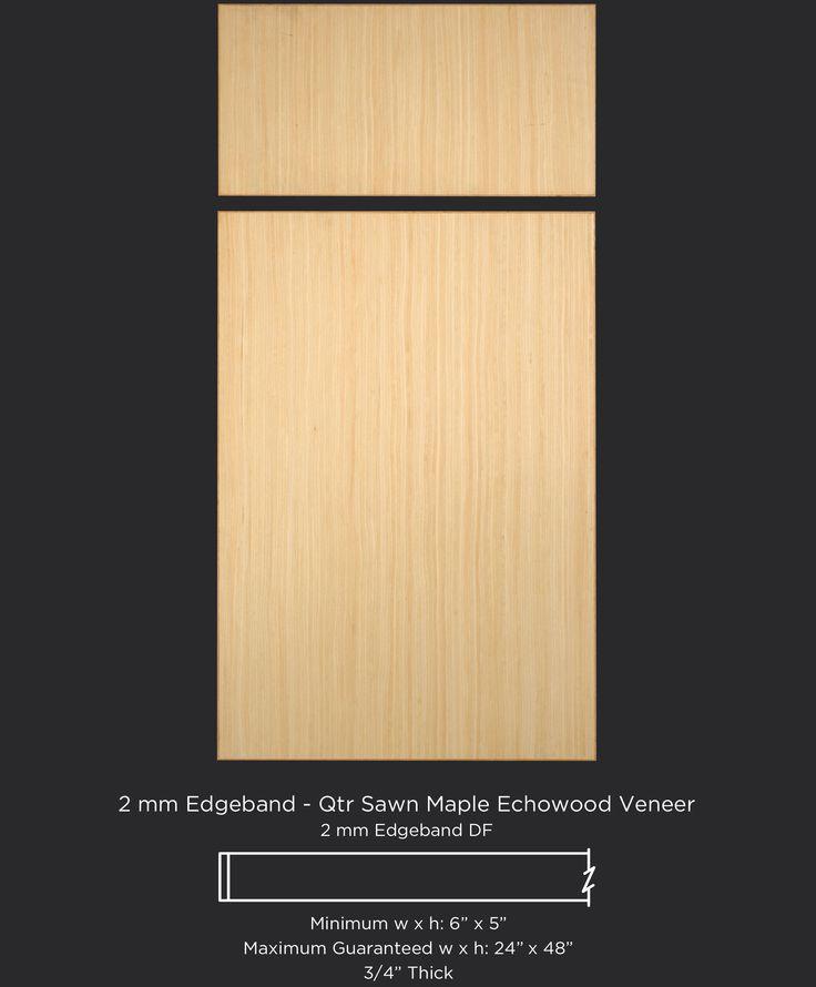 Light-colored, contemporary cabinet door in quarter sawn maple Echowood veneer by TaylorCraft Cabinet Door Company