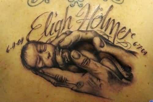 Sweet New Born Baby And Baby Name Tattoo. TattoosHunter