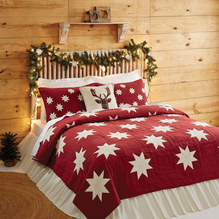 The Kent King Luxury Quilt features a soft crimson chambray accented with 8-point stars in creme chambray. Perfect for your country primitive home or cabin decor, celebrate the Holidays and Christmas
