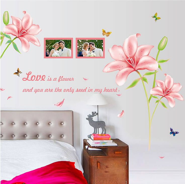 Blue pink lily flower wall stickers wall stickers home decoration wall sticker diy removable bedroom decoration stickers