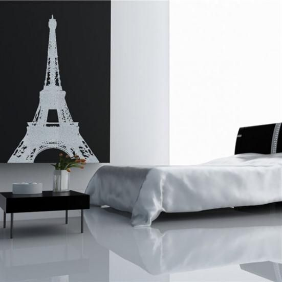 Black-white Modern Bedroom Design with Eiffel Themes - Paris Romantic Bedroom Ideas