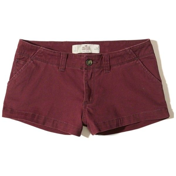 Hollister Low-Rise Chino Shorts (320 ZAR) ❤ liked on Polyvore featuring shorts, burgundy, low rise shorts, burgundy shorts, hollister co. shorts, chino shorts and pocket shorts