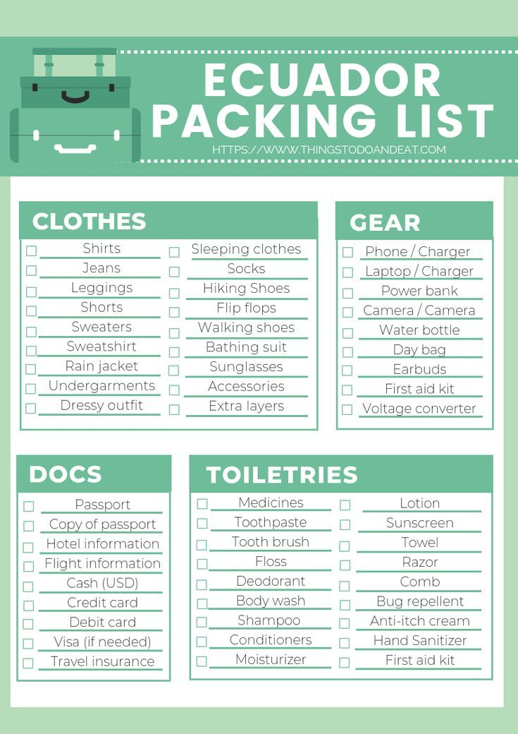 Packing List For Ecuador Plus 10 Things You Shouldn T Forget