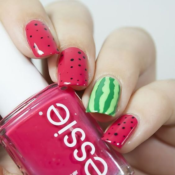watermelon easy nail art