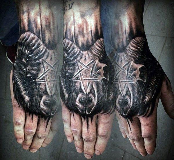 Star Ram Hand Tattoo For Men