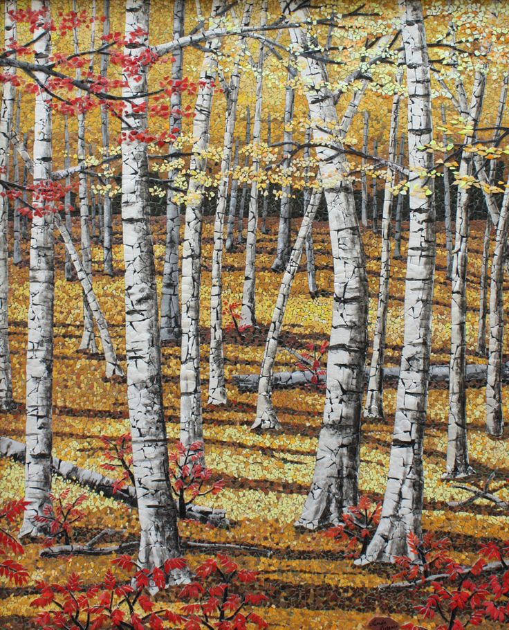 Autumn Birches eggshell mosaic.