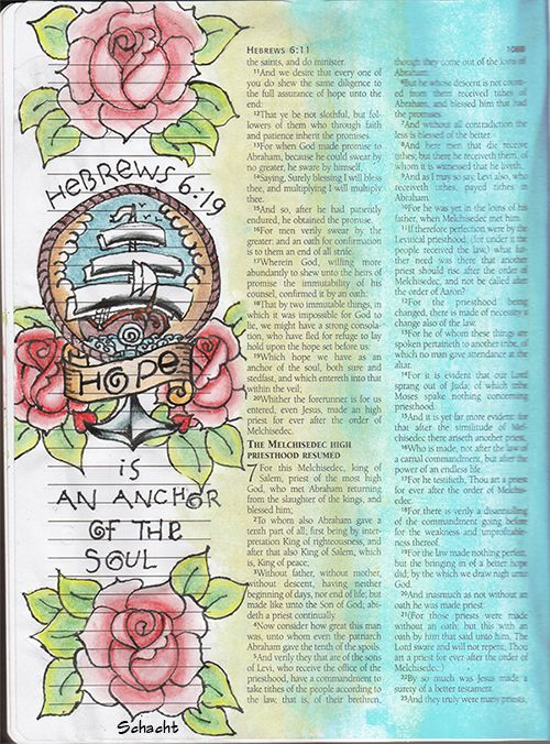 Hebrews 6:19 in journaling Bible.  Hope is an anchor of the soul.  On timewarpwife.com