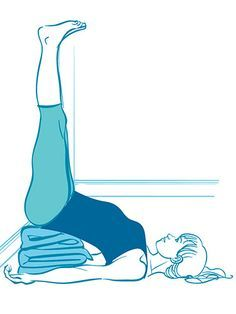 Legs up the wall -- Helps you calm down or even go to sleep—placing the legs and heart higher than the head has a sedative effect on the nervous system. Get yourself into this position with a folded blanket under your butt and your lower back. Breathe and relax!