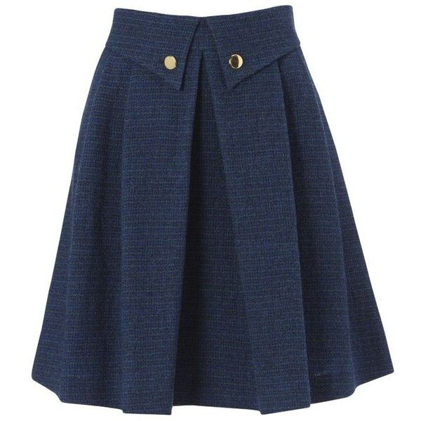 NW3 Button Down Pleated Skirt, Petrol Multi ($120) ❤ liked on Polyvore featuring…