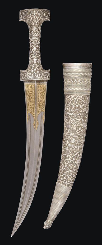 A LARGE OTTOMAN SILVER JAMBIYA DAGGER -  TURKEY OR THE BALKANS, LATE 18TH/EARLY 19TH CENTURY