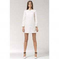 Sukienka tunika trapez biała S35
