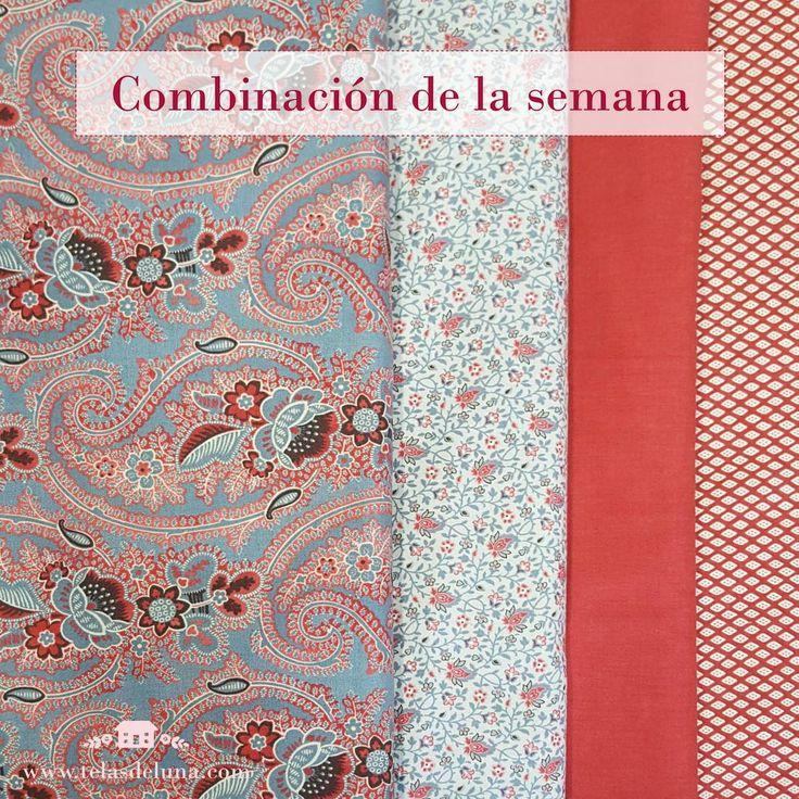 Combinacion telas patchwork.  Combinar colores para los trabajos y manualidades con telas.  www.telasdeluna.com