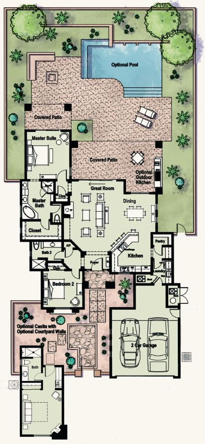 Another small plan with courtyard, would get rid of casita, add second bedroom, but I love the open living, dining, kitchen.