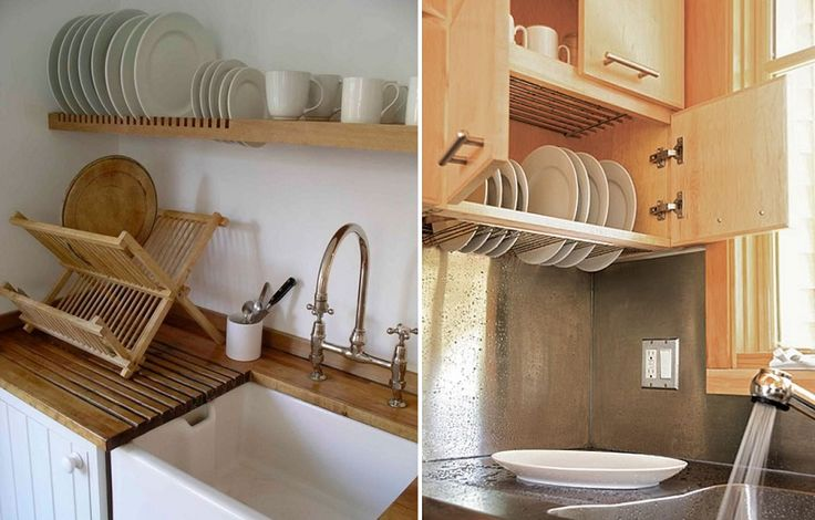 Dish storage that doubles as a drying rack - could potentially include an herb garden underneath on the counter to use waste water