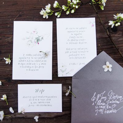 Love Prints Oryginalne Kwiatowe Zaproszenia Ślubne - Kwiat Jabłoni