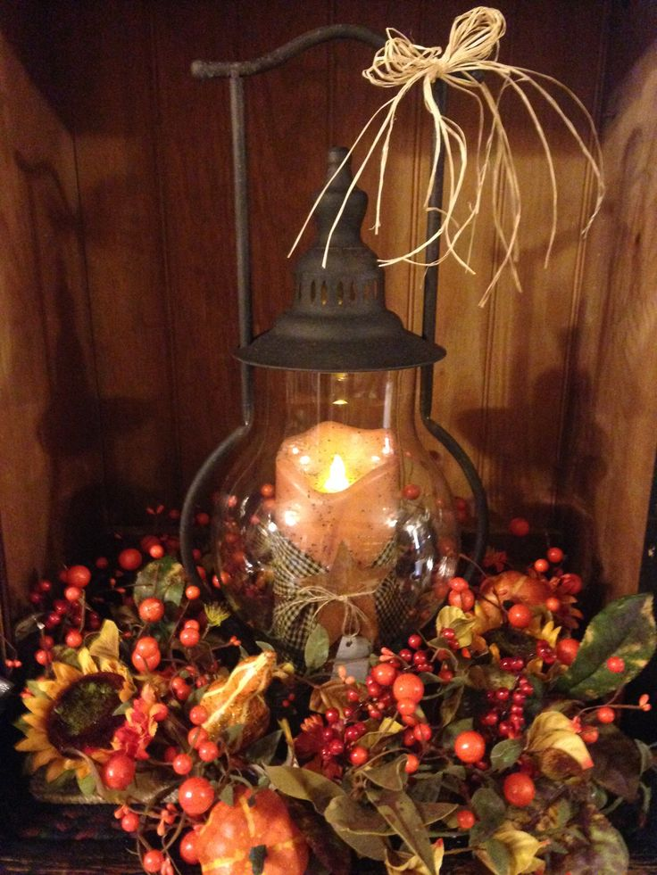 steeple lantern with fall arrangement - Images Of Fall Decorations